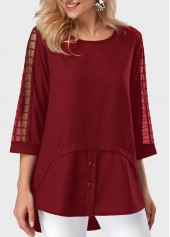 Mesh Panel Round Neck Asymmetric Hem Burgundy Blouse