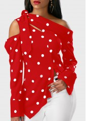 Long Sleeve Polka Dot Print Asymmetric Hem Red Blouse