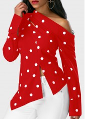 wholesale Long Sleeve Polka Dot Print Asymmetric Hem Red Blouse
