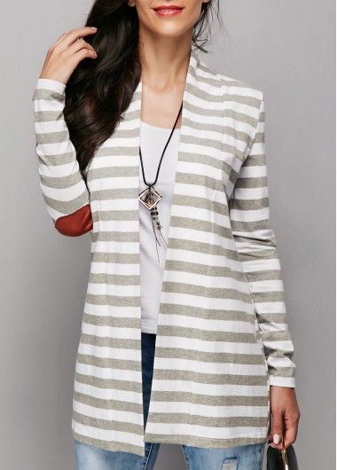 Open Front Stripe Print Patchwork Grey Cardigan