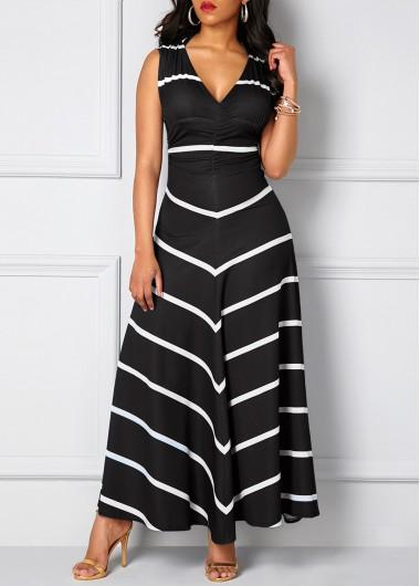 Stripe Print Cutout Back Sleeveless Black Dress