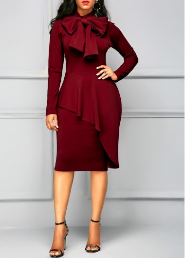 Long Sleeve Tie Neck Peplum Waist Dress
