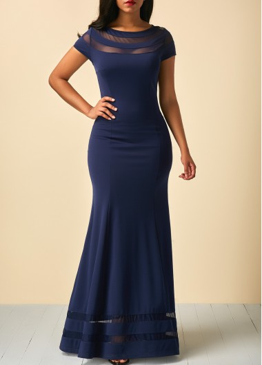 Mesh Panel Cap Sleeve Navy Blue Maxi Dress