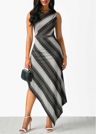 Sleeveless V Neck Printed Asymmetric Hem Dress