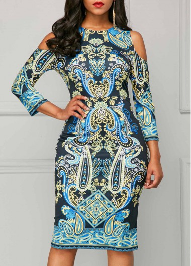 Three Quarter Sleeve Cold Shoulder Printed Dress