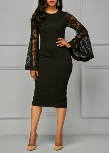 Back Slit Flare Sleeve Black Sheath Dress