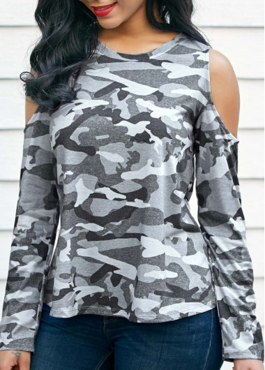 Camouflage Print Cold Shoulder Round Neck T Shirt