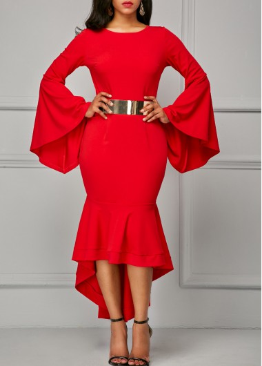 Asymmetric Hem Flare Sleeve Red Sheath Dress