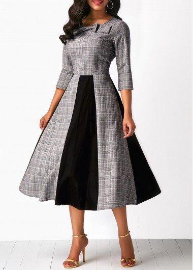 Color Block Bowknot Embellished High Waist Midi Dress