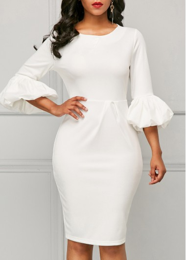 Back Slit Puff Sleeve White Sheath Dress