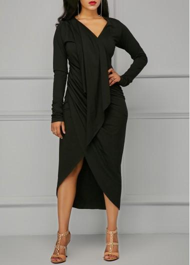 Black Asymmetric Hem V Neck Draped Dress
