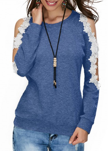 Lace Panel Cold Shoulder Long Sleeve Blue Blouse