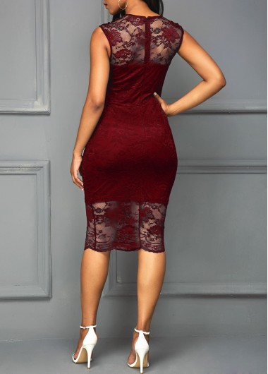 Round Neck Lace Up Plain Long Sleeve Bodycon Dresses online stores