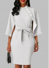 Button Embellished Mock Neck Belted Dress
