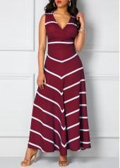 Stripe Print Wine Red Cutout Back Maxi Dress