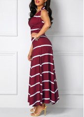 wholesale Stripe Print Wine Red Cutout Back Maxi Dress