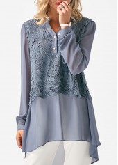Asymmetric Hem Lace Panel Grey Chiffon Blouse