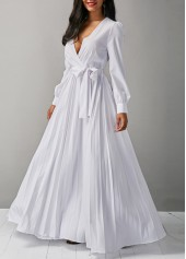 Belted Long Sleeve V Neck White Maxi Dress