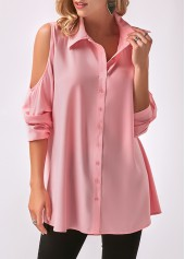 Cold Shoulder Long Sleeve Pink Shirt