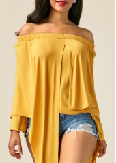 Long Sleeve Asymmetric Hem Yellow Bardot Blouse