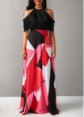 High Waist Cold Shoulder Printed Dress