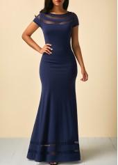 wholesale Mesh Panel Cap Sleeve Navy Blue Maxi Dress