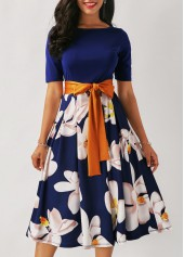 Belted Flower Print Navy Blue Dress
