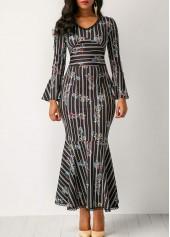 Flare Sleeve Peplum Hem Printed Dress