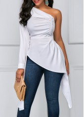 One Shoulder Asymmetric Hem White Ruched Blouse