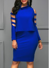wholesale Royal Blue Ladder Cutout Sleeve Top and Skirt