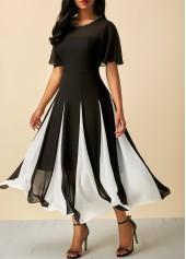 Short Sleeve Round Neck Patchwork Dress