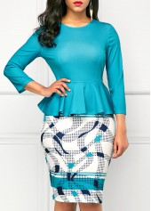 Printed Peplum Waist Round Neck Peacock Blue Dress