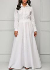 Elastic Waist Turndown Collar White Maxi Dress