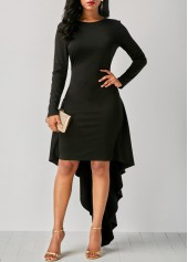 V Back Long Sleeve Black Dip Hem Dress