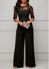 Peplum Waist Scalloped Neckline Lace Panel Black Jumpsuit