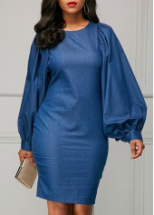Lantern Sleeve Back Slit Sheath Dress