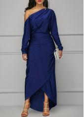 Skew Neck Long Sleeve Maxi Dress