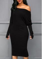 Skew Neck Glove Sleeve Black Dress