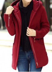 Wine Red Hooded Collar Zipper Up Curved Coat