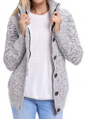 Long Sleeve Button Up Hooded Collar Coat