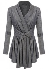 Long Sleeve Shawl Collar Tie Front Grey Cardigan