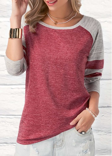 Round Neck Long Sleeve Patchwork Wine Red T Shirt