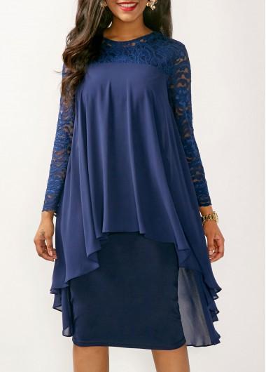 Long Sleeve Lace Yoke Navy Blue Dress