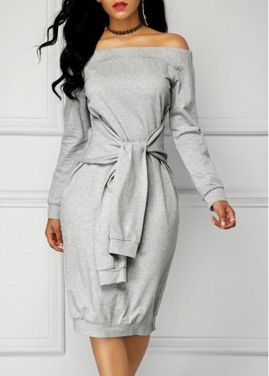 Grey Long Sleeve Tie Front Bardot Dress