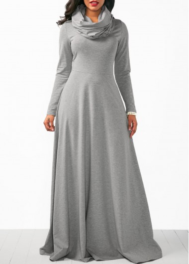 Grey Cowl Neck Long Sleeve Maxi Dress