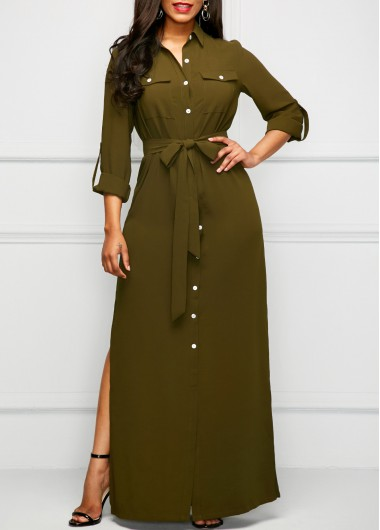 Army Green Roll Tab Sleeve Long Shirt Dress