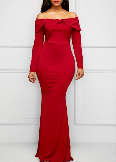 Long Sleeve Wine Red Bardot Maxi Dress