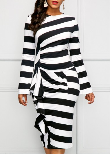 Back Slit Long Sleeve Striped Ruffle Dress