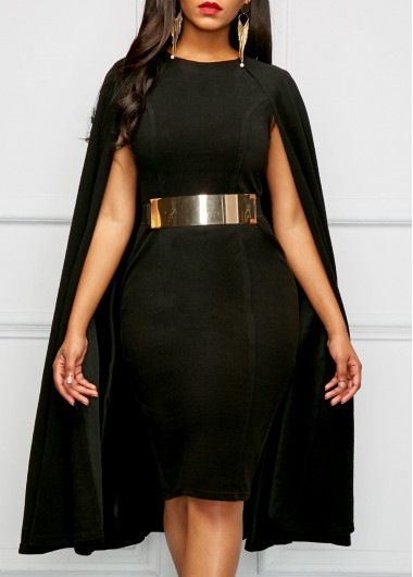 Black Round Neck Cape Sheath Dress