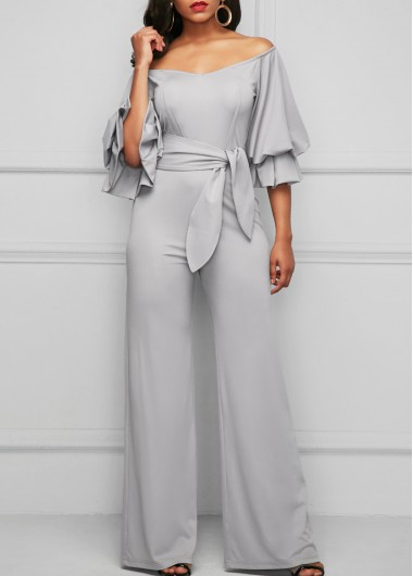 Light Grey Layered Sleeve Bardot Jumpsuit
